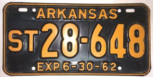1962 ARKANSAS VINTAGE, RARE,  TRAILER LICENSE PLATE!    VERY GOOD CONDITION!