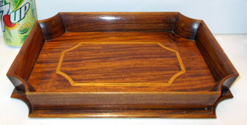 Antique EDWARDIAN Wood MAHOGANY INLAID Gallery Serving TEA Chippendate