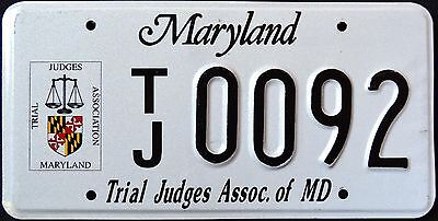"""MARYLAND """" TRIAL JUDGE """" VERY RARE """" MD Graphic License Plate"""