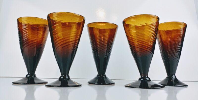 Set of 5 Amber Hand Blown Art Glass Footed Pilsner V Shaped Swirl Glasses