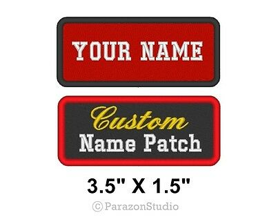 """Custom Embroidered Name Tag Patch Motorcycle Biker Badge 3.5"""" x 1.5"""" (A)"""