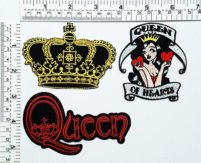 Crown Imperial King Queen Of Hearts Biker MC Patches T-shirt Sew/Iron on Patch](Crown Queen Of Hearts)