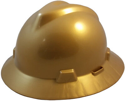 Msa V Gard Gold Full Brim Safety Hard Hat  New  One Touch Suspension Fast Ship