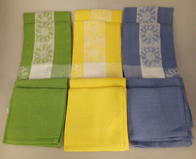 "12 Piece ""Sunflowers"" Jacquard Dish Towel and Dish Cloth Set - Green/Yellow/Blue"