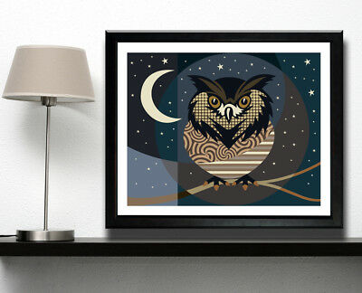Owl Print Bird Pop Art Poster Abstract Night Moonlight Stars Monochrome Painting for sale  Windsor