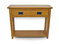 Brand New Middleham Oak Console Table with 2 Drawers Storage Hall Table