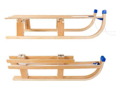 Klappschlitten Holzschlitten Klapprodel mit Zugseil klappbar Holzrodel bis 80 kg