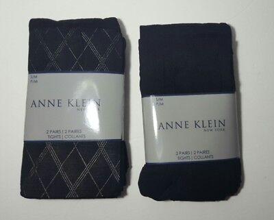 Four Pairs Of Anne Klein Tights Argyle Black Size S M