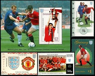 MANCHESTER UNITED FA CUP Football Stamps / Man Utd U (Ryan Giggs/Bobby Charlton)