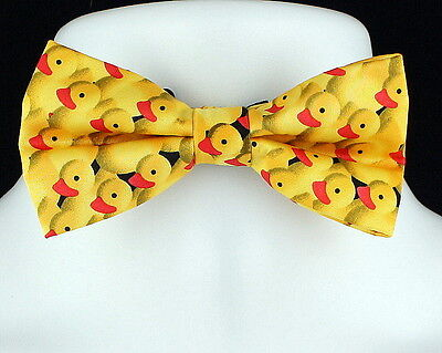 Yellow Rubber Ducky Mens Novelty Bow Tie Pre-tied Animal Duck Fun Bowtie - Fun Bow Ties
