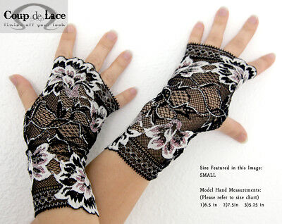 Pair of Fingerless Lace Gloves - Black w/ White and Pink accents -Pick your size](Pink Lace Gloves)