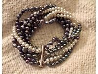 Black and white freshwater pearl multistrand bracelet with 925 clasp