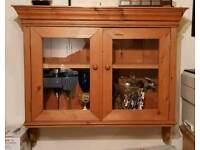 Solid Pine Wall Cabinet with Glass Display Doors by Lathams