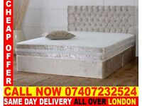 DOUBLE CRUSHED VELVET DIVAN BED BASE WITH DEEP QUILTED MATTRESS... Newport
