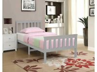Single Size Grey Pinewood Bed Frame for Adults, Kids, Teenagers