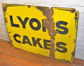 Lyons cakes enamel sign advertising mancave garage metal vintage retro kitchen antique decor pub