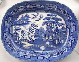 Staffordshire Allerton Willow Pattern 39cm Meat Platter