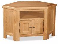 New Solid Oak Built Corner TV unit was £249 Now £199 LAST FEW IN STORE Pic 1
