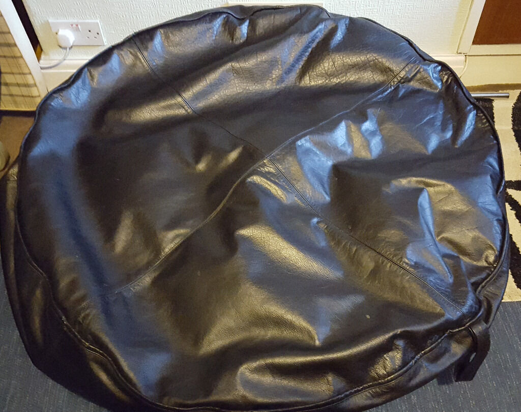 Black Heavy Duty Genuine Leather Hide Bean Bag
