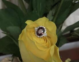 9k Pink Cinnamon Zircon Yellow Gold Ring