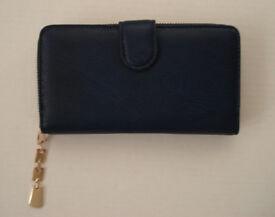 Royal Blue Leather Women's Purse/Wallet; Zip Around
