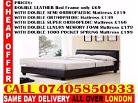 NEW DOUBLE AND KING SIZE SINGLE LEATHER BED AND MATTRESS Pelham