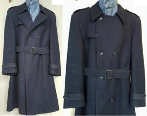 MENS 42R Large LONDON FOG Trench Coat Thick and Warm Vintage 100% Wool Navy Blue Free Scarf Long Jacket Overcoat Winter