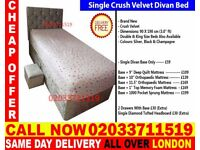 Brand New Single Crush Velvet Divan Bed Available With Mattress Order Now Hamilton