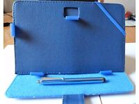 TABLET OR KINDLE 7 INCH FOLIO STAND CASE (BLUE) WITH STYLUS PEN- BRAND NEW