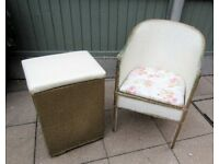 Vintage Lloyd Loom style chair / commode and linen box , can deliver these items