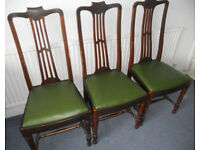 3 Dining Chairs, Mahogany Frames, Drop In Seats