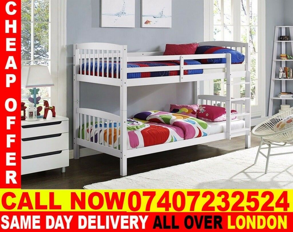 White Wooden Bunk Bed Single Top Single Bottom And Luxury