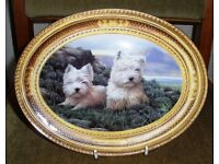 """WEST HIGHLAND TERRIERS. BEAUTIFUL OVAL PLATE . """"IN THE HEATHER"""" BY NIGEL HEMMING."""