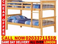 BRAZILIAN SOLID WOOD Brand New Wooden Bunk Bed Available With Mattress Cynthiana