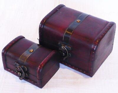 2er Set Caja Cofre Arcón de Madera