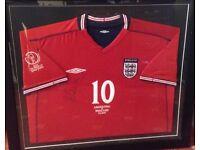 Framed, signed, Michael Owen England shirt. England versus Argentina 2002