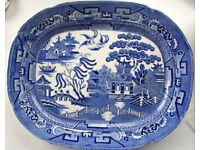 Vintage Staffordshire Allerton Willow Pattern 39cm Meat Platter