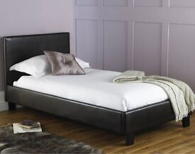 BRAND NEW/SINGLE LEATHER BED WITH ROYAL FULL ORTHOPAEDIC MATTRESS