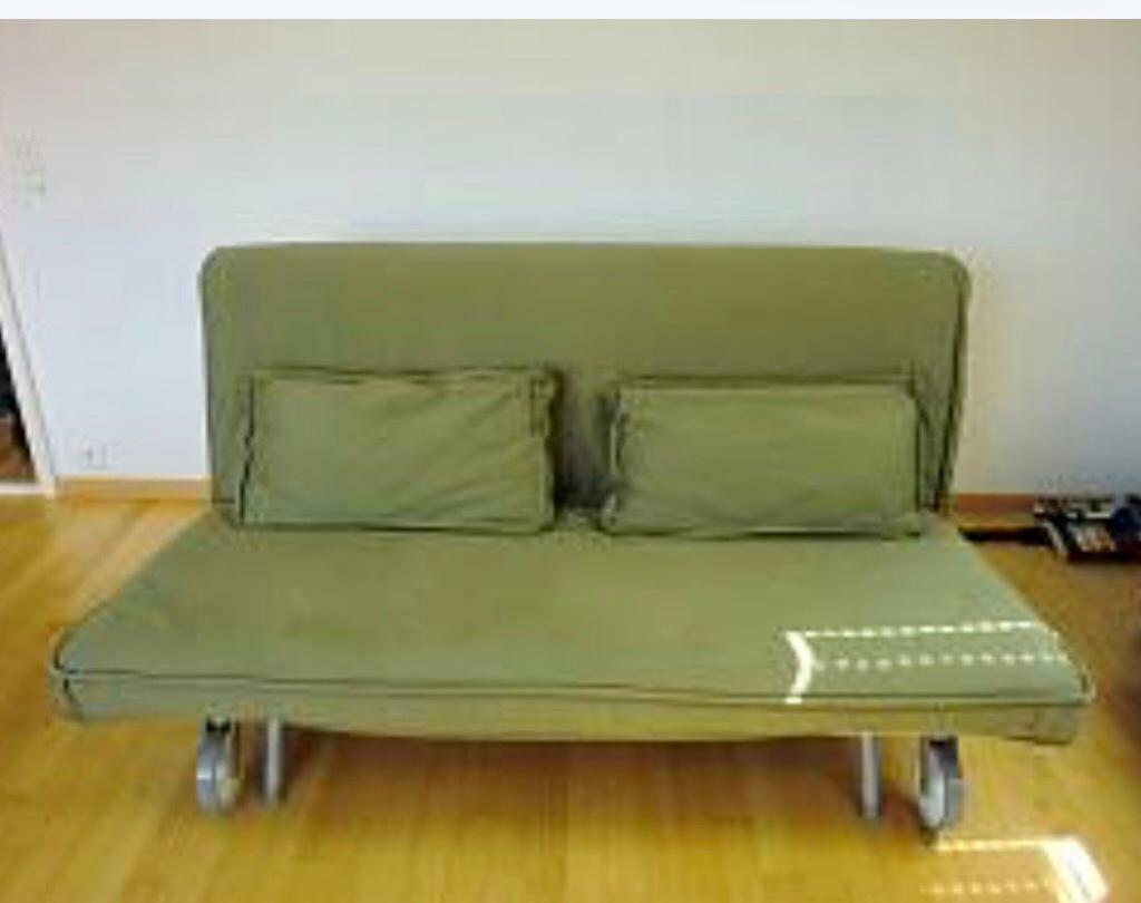 Two Seater Ikea Ps Sofa Bed Havet Green V Good Clean Mattress Converts To King Pet Smoke Free