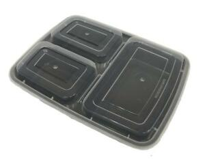 Black 32 oz 9'' x 7'' x 2'' 3 Compartment Rectangular Microwaveable Take Out Containers with Lids (50/CS)