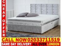 Crushed velvet bed king size Available double With Mattress Brand New Branford