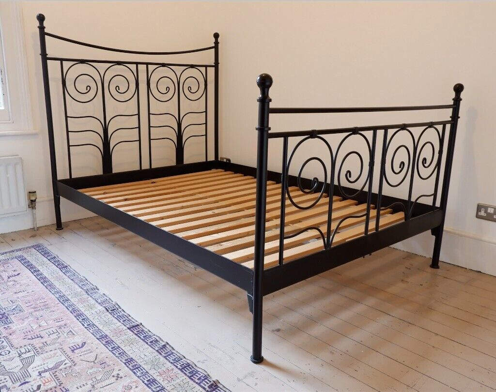 Ikea Noresund Black Metal Double Bed Frame Only Euro
