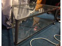 IKEA dalfors nice design glass tv stand metal structure on wheel