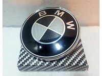 BMW 82mm Carbon Fibre Boot Bonnet Badge Emblem Roundel - 1 3 5 6 7 X Z