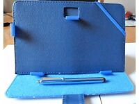 TABLET OR KINDLE 7 INCH FOLIO STAND CASE (BLUE) WITH STYLUS PEN -BRAND NEW.