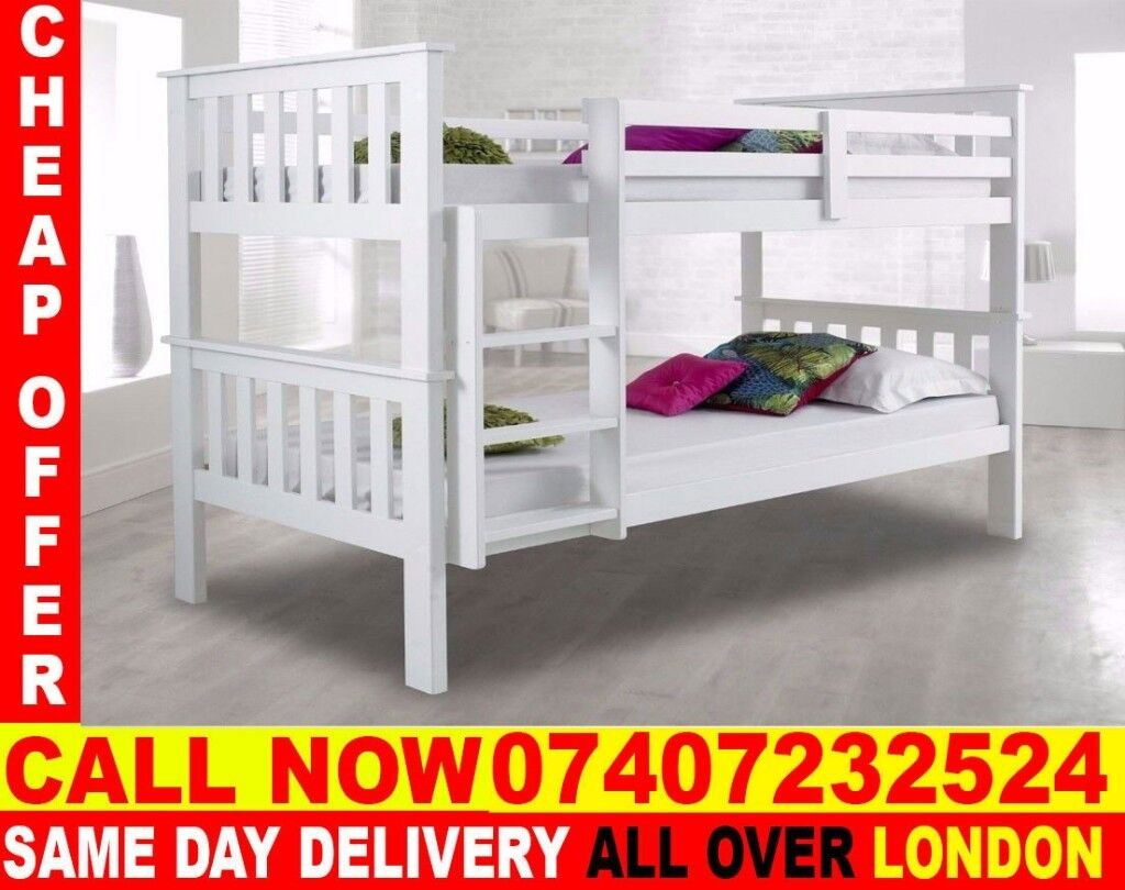 White Wooden Bunk Bed Single Top Bottom And Luxury Mattresses Perris