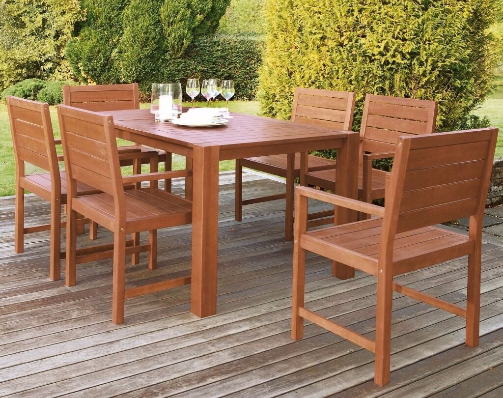traditional hardwood table and 6 seater garden furniture set - Garden Furniture Traditional
