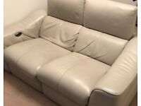 2 seater reclining leather settee