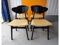 X 4 VINTAGE RETRO 60s / 70s BLACK WOODEN DANISH / BUTTERFLY STYLE DINING CHAIRS