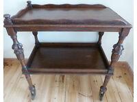 Vtge Antique Tea Trolley Oak Wood Carved Legs Wheels Victorian 2 tier Furniture Dining Living Room
